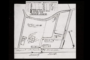 Terreinschets van de sloepenwerf van Gijs de Vries Lentsch